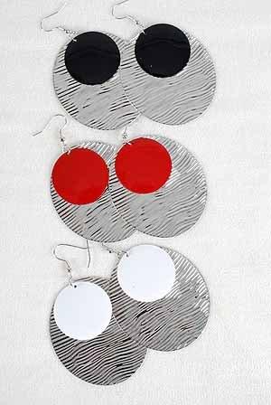 "Earrings Oval Dange W Circle Epoxy/DZ/DZ 2.5""x2"" 6 Color Asst"