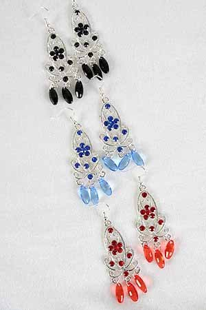 Earrings Ovel Filigree W Drop Stones/DZ ** New Arrival** 6 Color Asst