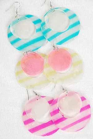 Earrings Paper Shell W Strips 2'' Wide/DZ ** New Arrival** 6 Color Asst