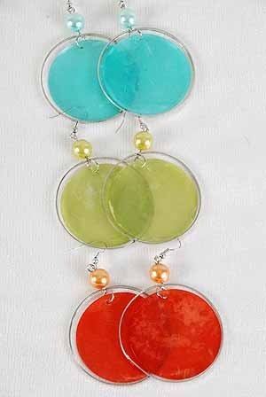 Earrings Paper Shell With Pearl Circles 2'' Wide/DZ ** New Arrival** 6 Color Asst