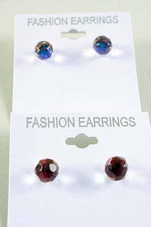 Earrings Round Crystal AB Multi 8mm color asst/DZ **New Arrival** AB Multi