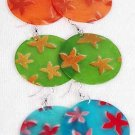 Earrings Seashell W Star Shape Print 2'',6 Color Asst 2''/DZ **NEW** 6 Color Asst