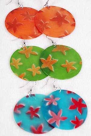 Earrings Seashell W Star Shape Print 2'',6 Color Asst 2''/DZ **NEW** 6 Color Asst