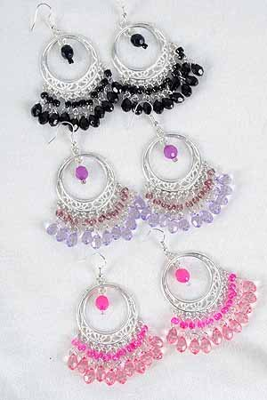 Earrings Silver Circle With Chandlairs/DZ **New Arrival** 6 Color Asst