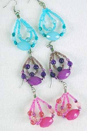 Earrings Teardrop Beads W Lucite/DZ 6Color Asst