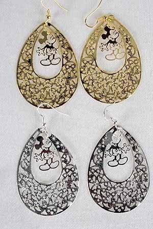 Earrings Teardrop Filigree W Mouse 2''x1.5''/DZ ** New Arrival** Choose gold or Silver