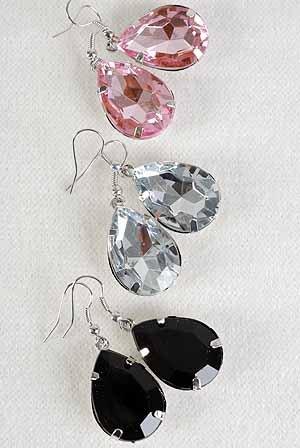 Earrings Teardrop Shape W Acrylic Stones 6Color Asst/DZ **POST** 6 Color Asst