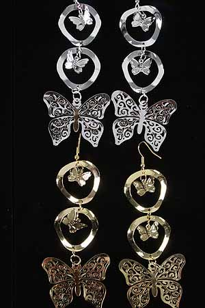 Earrings Trio Butterflys Dangle L-3''/DZ ** New Arrivall** choose silver or gold