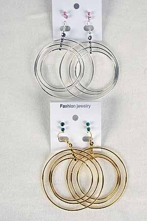 Earrings Triple Cirple W Color Stones, 3per/DZ **New Arrival** Choose Gold Or Silver Finish