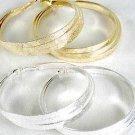 "Earrings Triple Loop Foil Finish 3"" Wide/DZ Choose Gold Or Silver Finish - IMP"