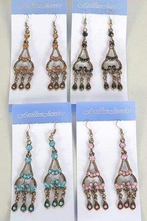 Earrings Victorian Look/DZ **NEW** Post, Color Asst