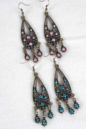 Earrings W Color Stone Victorian Collection/DZ **NEW** Post,6 Color asst