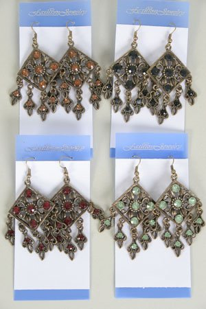 Earrings W Color Stone,Victorian Collection/DZ **NEW** Post, Color Asst