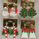 Earrings X'mas Asst style Post or Clip On/DZ Santa Candy cane Wreath Candle Snowman Giftbox Asst