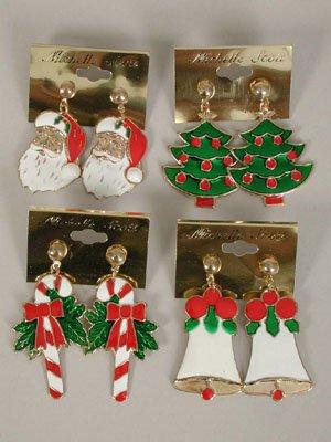 Earrings X'mas Asst style Post or Clip On/DZ Santa Candy cane Wreath Candle Snowman Giftbox Asst