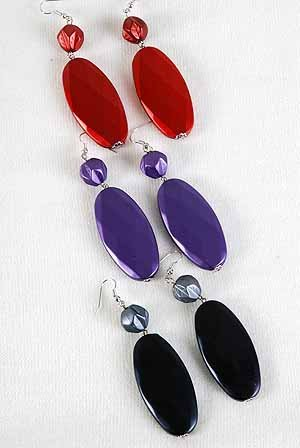 Earrinsg Large Oval matte Dangle Color Asst/DZ **NEW** 6 l Color asst