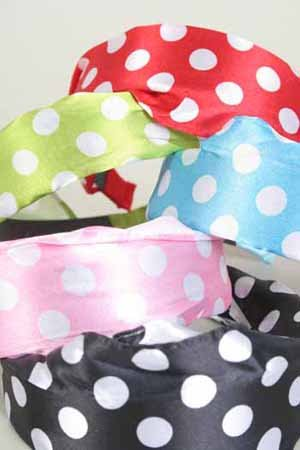 TOP SELLER-Head Band Satin Polka Dot ,BK&White/DZ ** New Arrival**