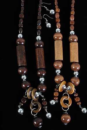 TOP SELLER-Necklace Sets Wood Color Asst 24''/DZ **NEW** 6 Color Asst