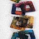 Earrings Acrylic Square Shape W Design/DZ 6 Color Asst