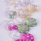 Earrings Acrylic Circle W Clear Rhinestones/DZ/DZ 6 Color Asst