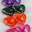 Earrings Acrylic Heart W Clear Stones/DZ 6 Color Asst