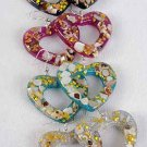 Earrings Acrylic heart Shape W Design/DZ 6 Color Asst