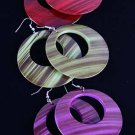 "Earrings acrylic Circle Deco Look 2.5'x2.5""/DZ 6 Color Asst"