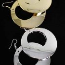Earrings Circle W Foil Finish Post/DZ Choose Gold Or Silver Finish