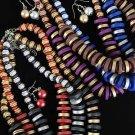 Necklace Sets 2tone wood W coconut Shell Asst/dz 6 Color Asst