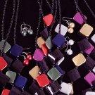 "Necklace Set Acrylic W Metallic Blocks 24"" Long/dz 6Color Asst"