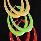 """Earrings Oval Shape W Epoxy Pincatch Multi/Dz Size-3""""x5"""" 6 Color Asst"""