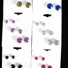 Earring 3per Color stone Mix/DZ 7mm 9mm 12mm Mix,2 Color Asst