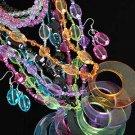 3pcs Necklace Sets Acrylic Large Round Pendant With Transparent Colors/DZ 7 Color Asst