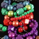 Bracelet & Earring Sets Ball Metallic & Blacks/DZ **NEW** Stretch,6 color asst