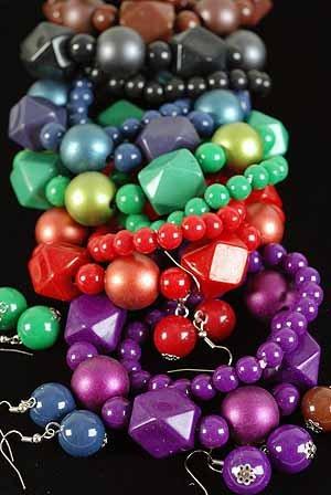 Bracelet & Earring Sets Ball Metallic & Blacks/DZ **NEW** Stretch,6 color asst