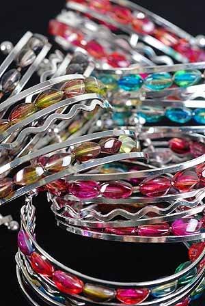 Bracelet Bangle Ovel Transparent Marble Color Asst/dz 6 Color Asst