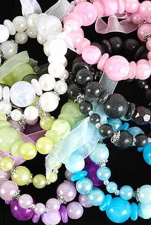 Bracelet Lucite W Ribbon tie, Pearls Mix, Stretch/DZ 6Color Asst
