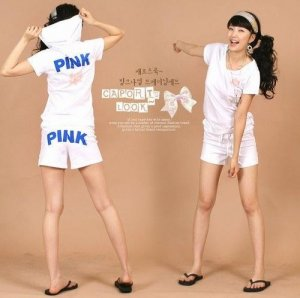 "$30/3 sets of ""PINK"" print Korean Hoodie shirt and short pant W string"