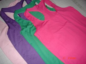 $18 Lots of 4 plain TANK Tops: GREEN,PINK,PURPLE& RED**GOOD for PARTY