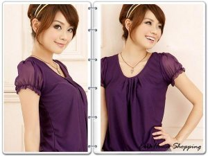 $30/lot of 3 Chiffon See-through Sleeves Top from Japan: BLK, WHITE&PINK