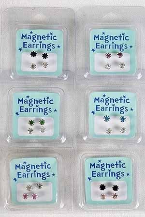 Earrings Magnet 2 per Rhinestone,Asst Colors/DZ **New Arrival** Color Asst