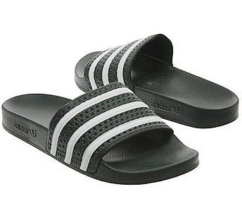 NEW ADIDAS ADILETTE logo SANDALS Black SLIDES Mens 12 NIB