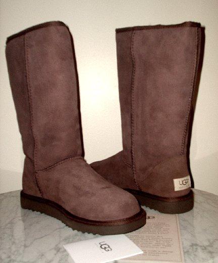 AUTHENTIC UGG Australia Tall Chocolate Boots 6 7 NIB (no fakes)