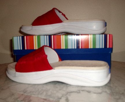 NEW KEDS Purefit canvas RED slides mules clogs W 6 NIB