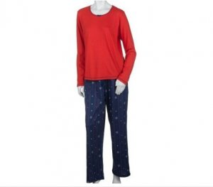 No Nonsense Women's Long Sleeve Top and Snowflake Long Pant Sleepwear Set W XL NEW with taqs