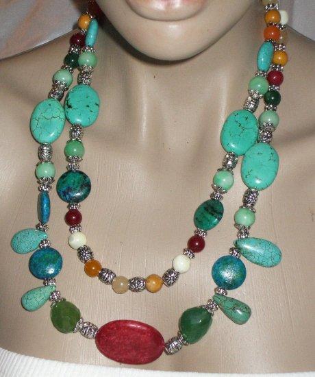 Turquoise & gemstone multi layer necklace OOAK