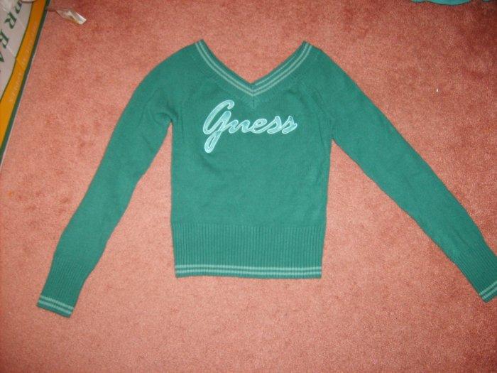 Juniors GUESS Sweater Teal Logo Sz M