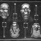 SCARY FACES LOLLY CHOCOLATE CANDY MOLD - HALLOWEEN CANDY MOLD - CANDY, PLASTER, SOAP MOLD MOLDS