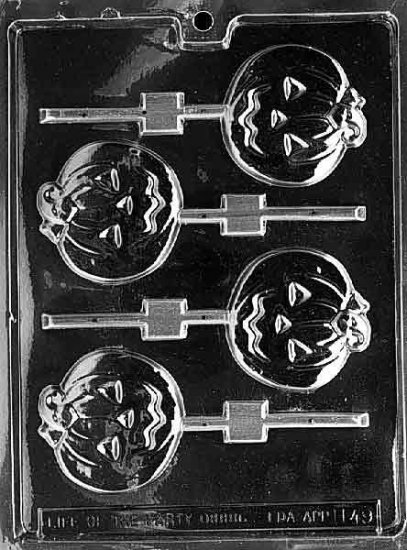MEDIUM FLAT PUMPKIN LOLLY CHOCOLATE CANDY MOLD-HALLOWEEN CANDY MOLD-CANDY,PLASTER,SOAP MOLD MOLDS