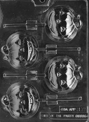 LARGE PUMPKIN LOLLY CHOCOLATE CANDY MOLD-HALLOWEEN CANDY MOLD-CANDY,PLASTER,SOAP MOLD MOLDS